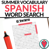 Spanish Summer Vocabulary Word Search