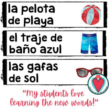 Spanish Summer Vocabulary Word Wall