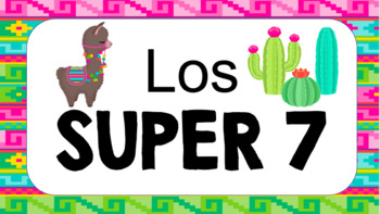 Spanish Super 7 Posters: Llama & Cactus Themed
