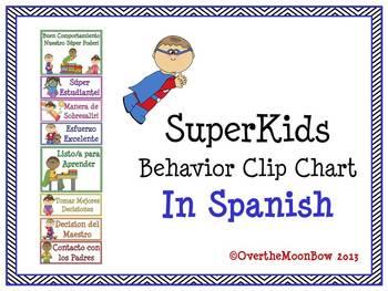 Spanish: SuperKids Behavior Clip Chart