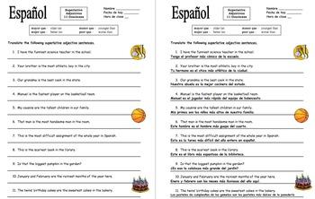 Spanish Superlatives - 11 Superlative Adjectives Sentence Translations