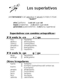 Spanish Superlative Forms Notes