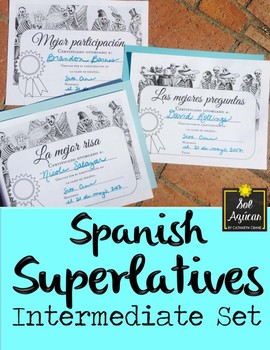 Spanish Superlatives End of Year Award Certificates - Posada Theme Intermediate
