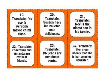 Spanish Superlatives Task Cards