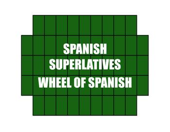 Spanish Superlatives Wheel of Spanish