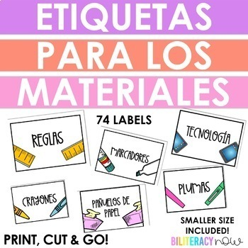 Spanish Bin Labels for Classroom Supplies! 74 Labels!