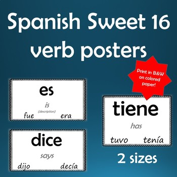16 High Frequency Spanish verb posters