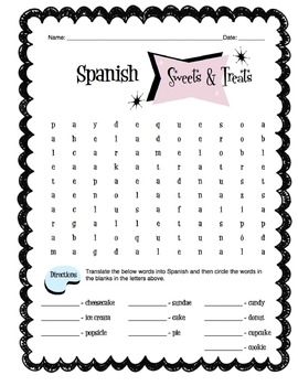 Spanish Sweets & Treats Words Worksheet Packet