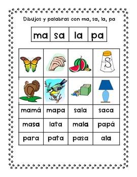 Spanish Syllable Aa Vowel Word Sorts