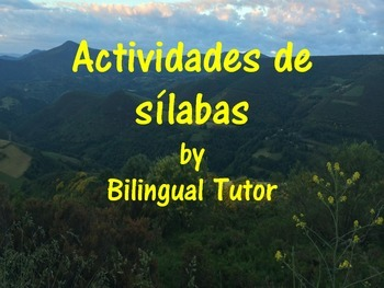 Spanish Syllable Activities/Actividades de sílabas