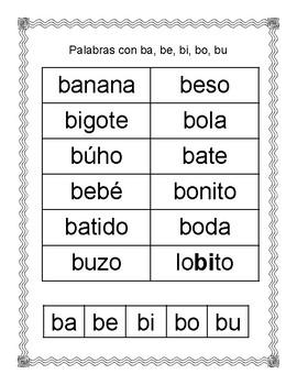 Spanish Syllable Bb sort