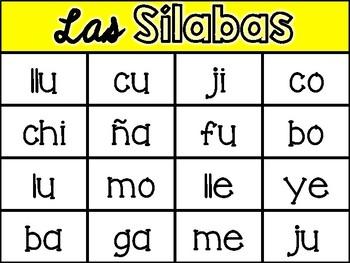 Spanish Syllable Bingo