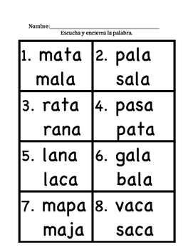 "Reading Spanish Syllables with ""a"" Packet"