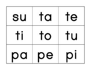Spanish Syllable Cards/Tarjetas de Sílabas