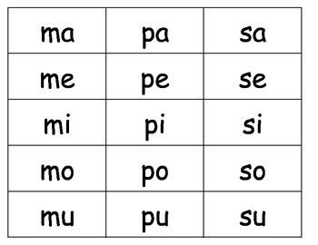 Spanish Syllable Cards K