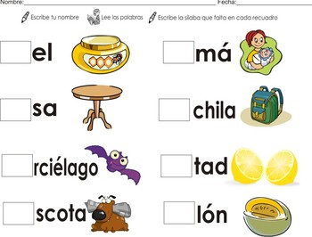 Flashcards + Spanish Homework Syllables: ma me mi mo mu Color + B/W