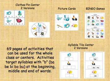 Spanish Syllable Centers - ba be bi bo bu