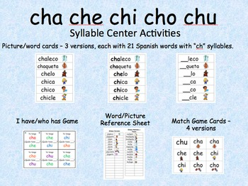 Spanish Syllable Centers - cha che chi cho chu