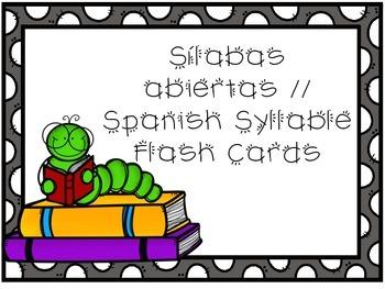 Spanish Syllable Flash Cards / Sílabas abiertas