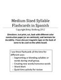 Spanish Syllable Flashcards - Medium Sized
