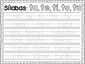 Spanish Syllable Handwriting Practice
