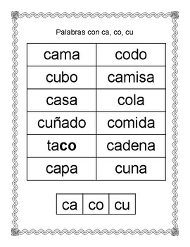 Spanish Syllable Hard Cc Word Sort