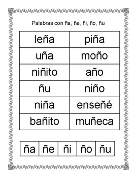 Spanish Syllable Ññ Word Sorts