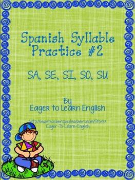 Las Sílabas (Spanish Syllable Practice) #2 - SA, SE, SI, SO, SU