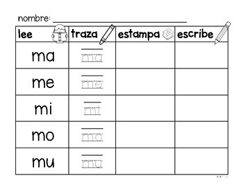 Spanish Syllable Practice