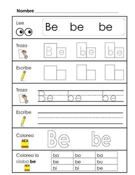 Spanish Syllable Practice - ba be bi bo bu