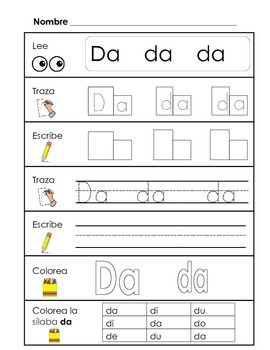 Spanish Syllable Practice - da de di do du
