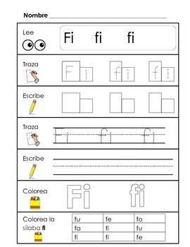 Spanish Syllable Practice - fa fe fi fo fu