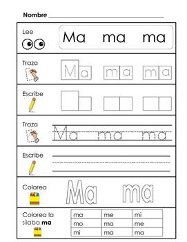 Spanish Syllable Practice - ma me mi mo mu
