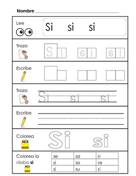 Spanish Syllable Practice - sa se si so su