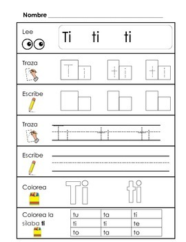 spanish syllable practice ta te ti to tu by crafty maestra tpt. Black Bedroom Furniture Sets. Home Design Ideas