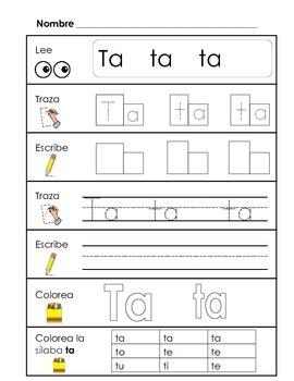 Spanish Syllable Practice - ta te ti to tu