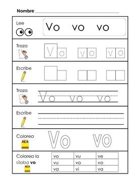 Spanish Syllable Practice - va ve vi vo vu