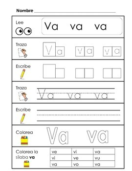 Spanish Syllable Practice - va ve vi vo vu