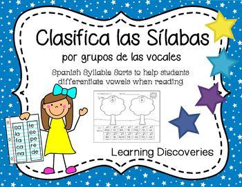 Spanish Syllable Sorts by Vowel Groups - Clasifica Sílabas por Vocales