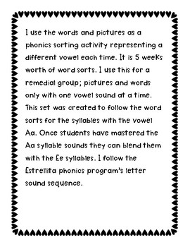 Spanish Syllable Vowel Ee Word Sorts