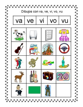 Spanish Syllable Vv Word Sort