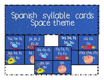 Spanish Syllable Word Wall Cards- Star Theme