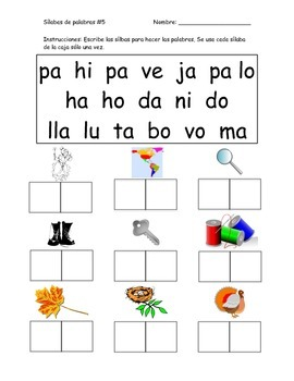 Spanish Syllable Worksheets - Chunking Words