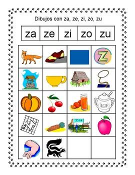 Spanish Syllable Zz Word Sorts