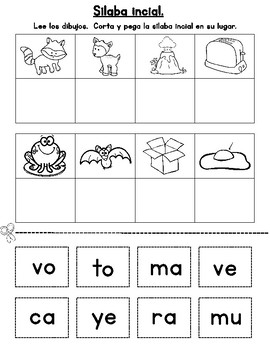 Spanish Syllables Cut and Paste