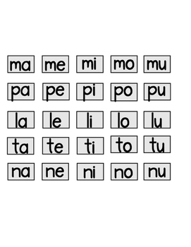 Spanish Syllables Cut and Paste Set #2:  3 syllables