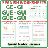 Spanish Syllables - GE, GI, GUE, GUI, GÜE, GÜI - Worksheets