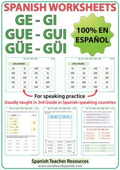 Spanish Syllables - GE, GI, GUE, GUI, GÜE, GÜI - Worksheets