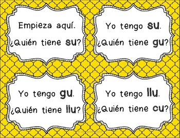 Spanish Syllables - I Have Who Has Syllables With U