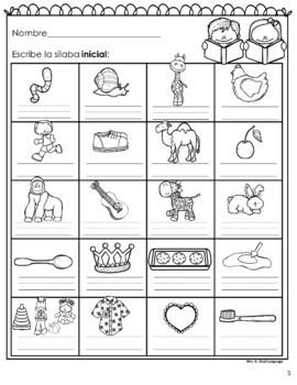 Spanish Syllables RTI Activities Set 3
